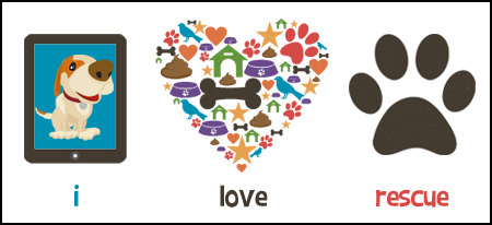 "Our official ""i love rescue"" stickers show the world how much you support indie games and shelter dogs!"