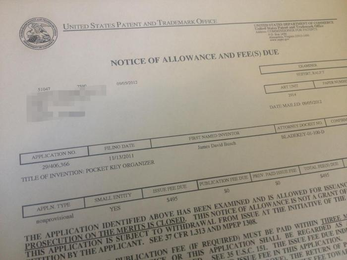Notice of Allowance for the First BladeKey Patent (USPTO)