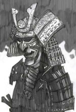 Example: Samurai sketch messed a bit in photoshop by tomas overbai