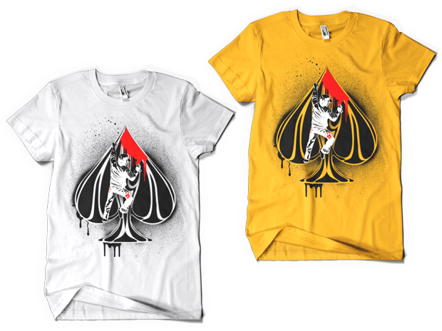 Urban Punk Ace of Spades T-Shirt Design (Left: White, Right: Gold)