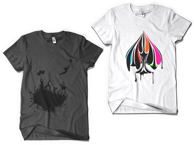 Urban Punk Escape the Mob t-shirt Design (Left), True Colors t-shirt Design white (Right)