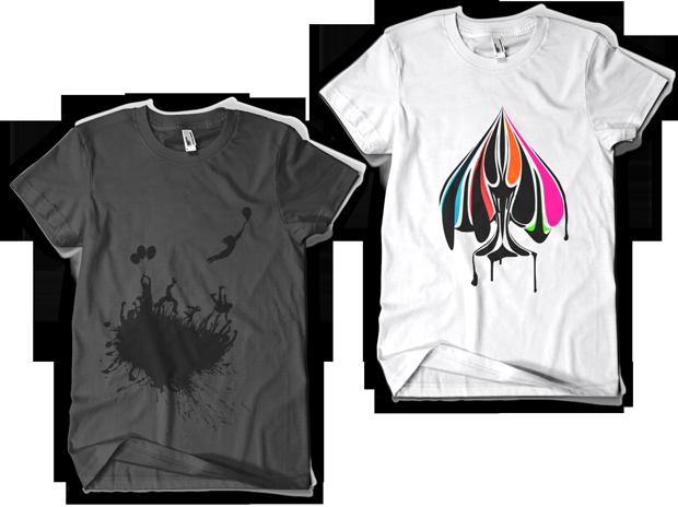 Urban Punk Escape the Mob t-shirt Design (Left), True Colors t-shirt Design white (Right)