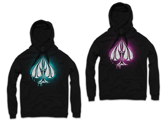 Urban Punk Shine Bright Hoodie Design (Left: Blue on Black, Right: Pink on Black)