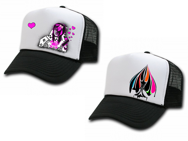 Urban Punk Queen of Hearts (Left) and Show your Colors (Right) Trucker Hat Design