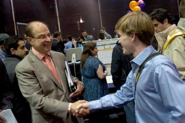 Shaking hands with Northeastern University President Aoun at the Husky Start-up Challenge!