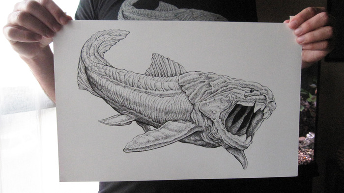 "Dunkleosteus: original ink drawing on bristol board, 11"" x 17"""
