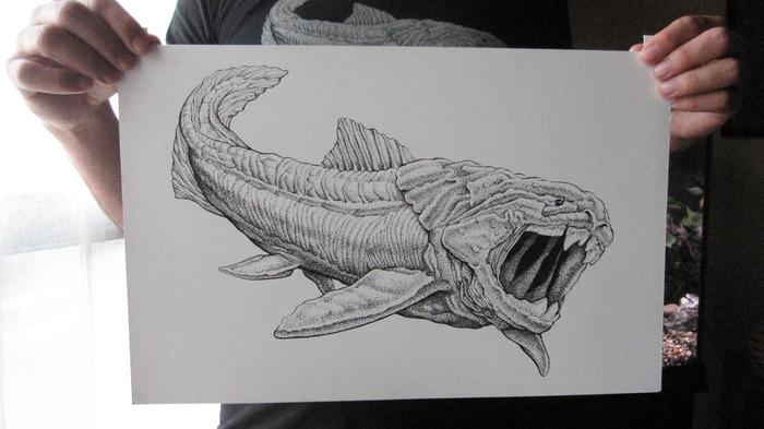 "Dunkleosteus: original ink drawing on bristol board, 11"" x 17"""