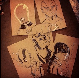 JUSTIN CASTANEDA  - Original Cardboard sketch card set $25.