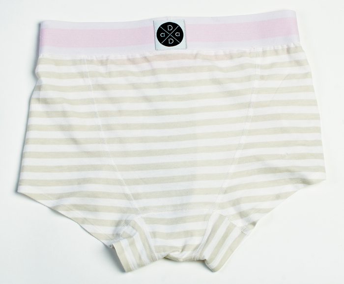 Grey and white shorty with pink waistband.