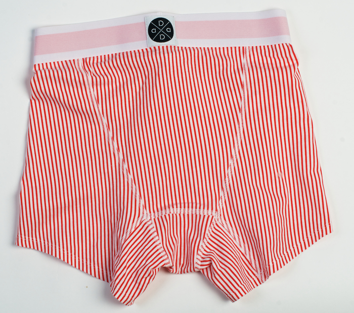 Red and white trunk with red waistband