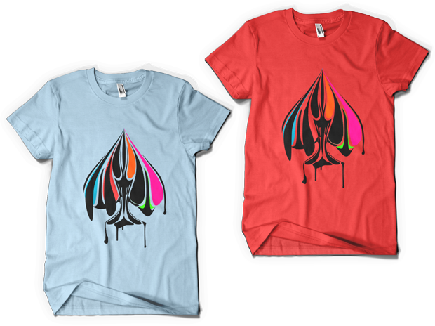 Urban Punk True Colors t-shirt Design (Left: Light Blue, Right: Red)