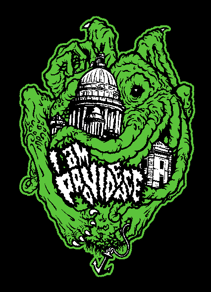 "One of the stickers found in our sticker pack: ""I Am Providence"" by Providence-based artist James Quigley (GUNSHO). This design, as a black and white printed design on dark grey T-shirt, is also reward #5."