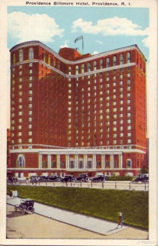 A postcard rendition of the historic Biltmore Hotel in downtown Providence - primary site of NecronomiCon, 2013, and one of Lovecraft's favorite tall buildings in town.