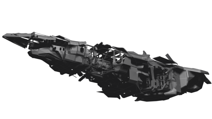 A render of just the mesh of a heavily damaged Anaconda
