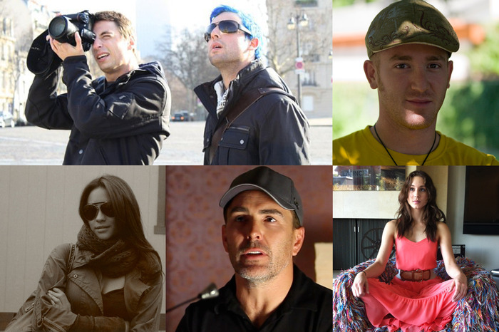 hazart [top-left], brandon alperin [top-right], shay mitchell [bot-left], nolan north [bot-center], troian bellisario [bot-right]