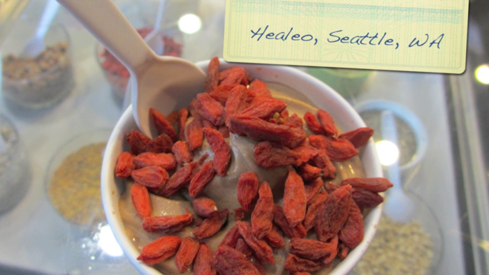chocolate hemp yogurt with goji berries