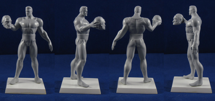 Various views of the prototype Stardust the Super Wizard figurine.