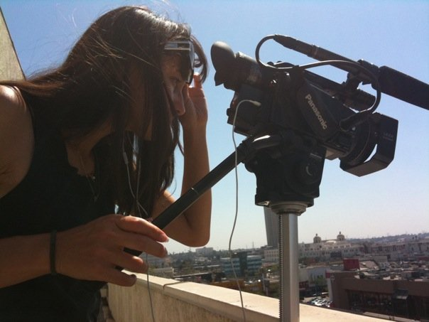 Director Ursula Liang shooting in Los Angeles, 2009.