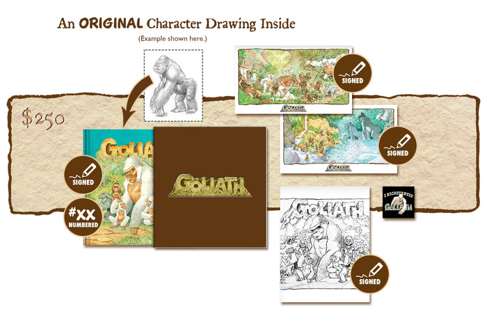 "DELUXE SIGNED AND NUMBERED KICKSTARTER ""PUBLISHER'S COVER"" SLIP-CASED EDITION CONTAINING AN ORIGINAL GOLIATH CHARACTER DRAWING BY MICHAEL PLOOG"