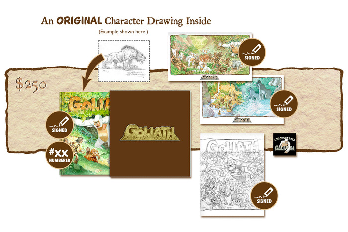 "DELUXE SIGNED AND NUMBERED KICKSTARTER EXCLUSIVE ""GOLIATH ARRIVES!"" SLIP-CASED VARIANT COVER EDITION CONTAINING AN ORIGINAL GOLIATH CHARACTER DRAWING BY MICHAEL PLOOG"