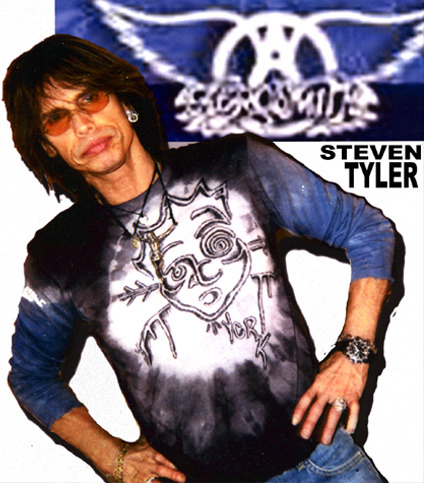 Steven Tyler in an original York hand-drawn shirt.