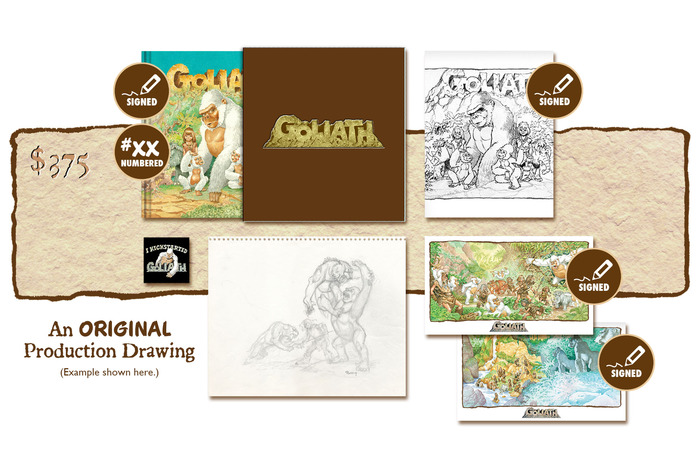 "DELUXE SIGNED AND NUMBERED KICKSTARTER ""PUBLISHER'S COVER"" SLIP-CASED EDITION PLUS AN ORIGINAL GOLIATH PRODUCTION DRAWING BY MICHAEL PLOOG"
