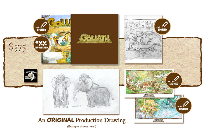 "DELUXE SIGNED AND NUMBERED KICKSTARTER EXCLUSIVE ""BATTLE OF THE BEHEMOTHS!"" SLIP-CASED VARIANT COVER EDITION PLUS AN ORIGINAL GOLIATH PRODUCTION DRAWING BY MICHAEL PLOOG"
