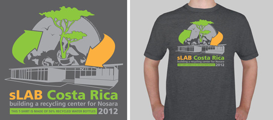 Part of the $75 reward: custom designed sLAB T-shirt - made out of 50% recycled bottles! (logo design by www.ps-designstudio.com)