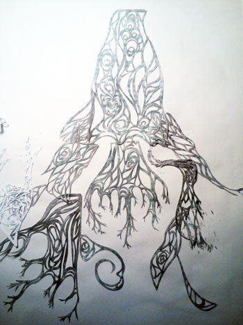 Process shot:  detail of section of elaborate root system (cut from sumi-e'd pages written in Dec 97)