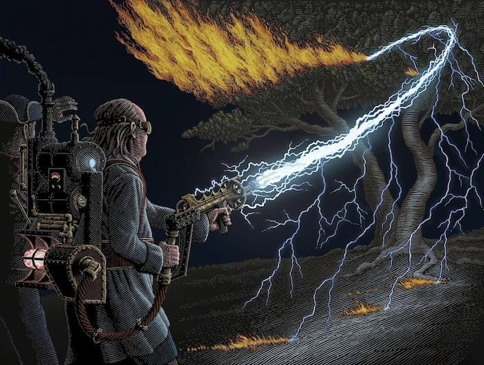 Benjamin Franklin with Lightning Gun by Patrick Arrasmith