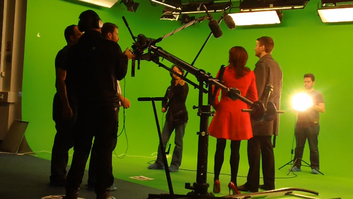 Filming at Brunel University's greenscreen studio