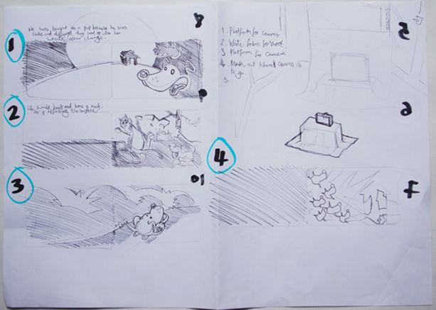 I drew out how the book should follow using thumbnails for each as a double page spread, mindful of where the text could appear.