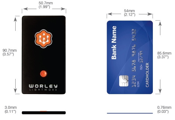 FlatLight size comparison to a credit card