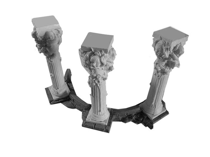 (x3) pillars with half-round base.