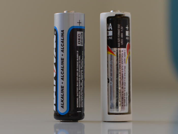 Tethercell beside AA battery
