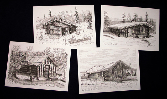 "Four 5"" x 7""  art post cards depicting historic cabins"