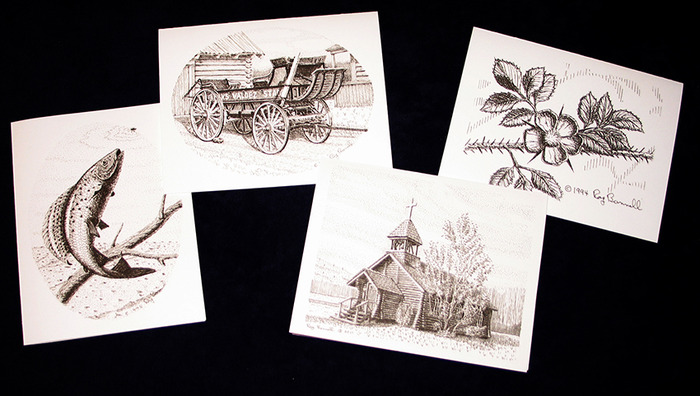 "Four 4.25"" x 5.5""  note cards (with envelopes) depicting Interior Alaska scenes"