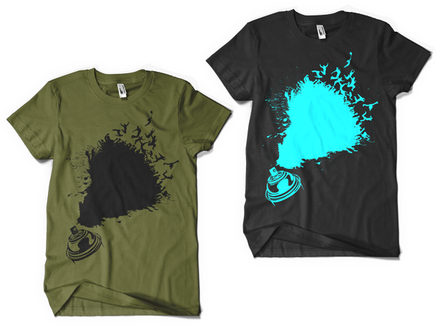 Urban Punk Leave Your Mark t-shirt Design (Left: Olive, Right: Black)