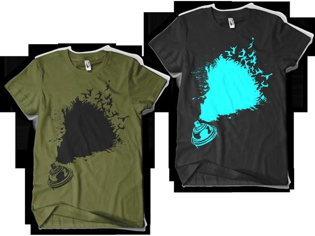 Urban Punk Leave Your Mark t-shirt Design (Left: Olive, Right: Black)