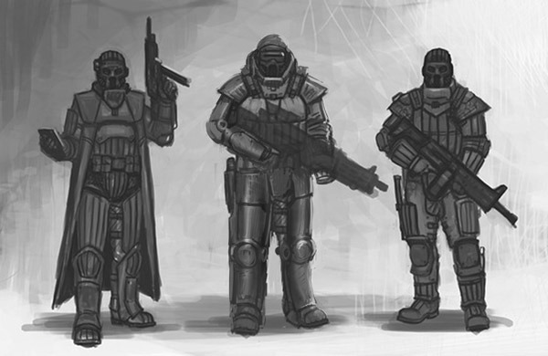 Power armor example in center as a guide. Philip adjusted Des concept for the hunter.