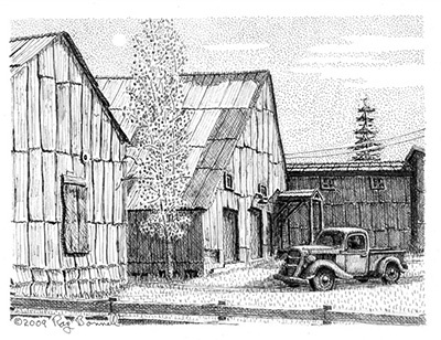 "Original drawing, ""NC Company Warehouses, Fairbanks,"" 5.5"" x 7.5"", pen and ink on Bristol Board"