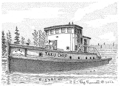 "Original drawing, ""Taku Chief tug boat"", 5"" x 7"", pen and ink on Bristol Board"