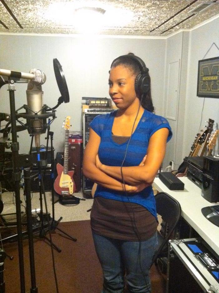 "Nicole laying vocal tracks for ""Time"""
