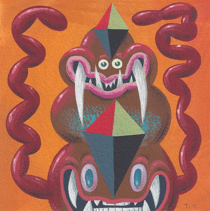 """Secret Weapon #4"" Painting - 4.5"" x 4.5"" - Cel-Vinyl on Paper"