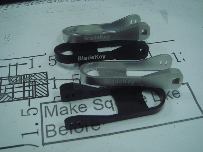Parts from an initial small batch of production BladeKey N9 devices.