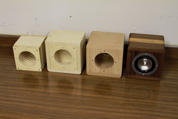 Our progression of speaker prototypes.