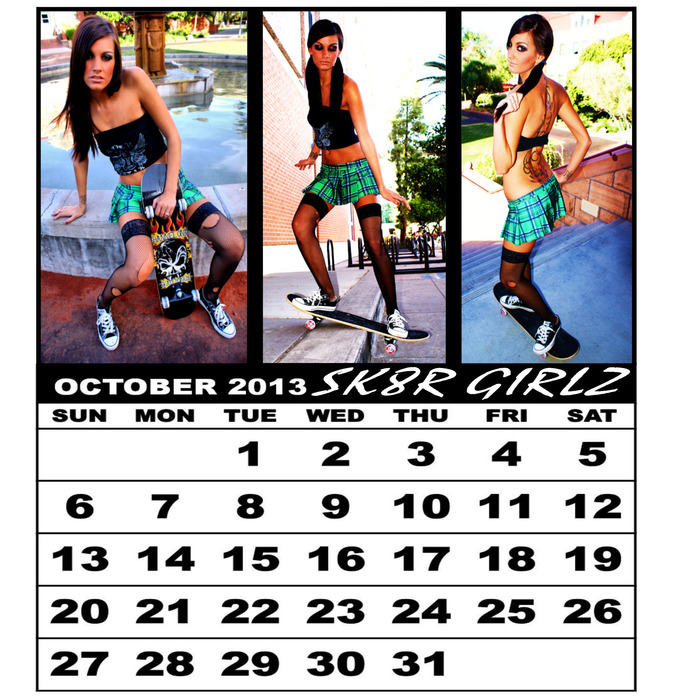 A SAMPLE OF HOW THE CALENDAR WILL LOOK. EACH SKATER GIRL WILL HAVE 3 PHOTOS ON HER FEATURED MONTH.