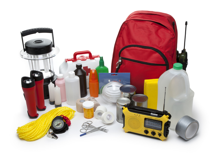 Standard Emergency Preparedness Kit. Experts Stress the Need for Extra Batteries to Power or Recharge USB Mobile Communications Devices, Lights, and Radios. iStock Photo.