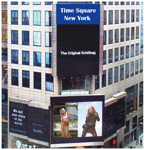 Our ultimate Reward #10: A once-in-a-lifetime opportunity to model a Schitbag on the Times Square Billboard in New York