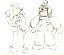 Early concept sketches by Wil of the brothers, Cody and Sam.